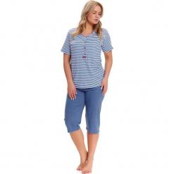 Piżama w kolorze niebiesko-białym - t-shirt, spodnie. Białe piżamy damskie Doctor Nap, xl, w paski. W wyprzedaży za 79,95 zł.