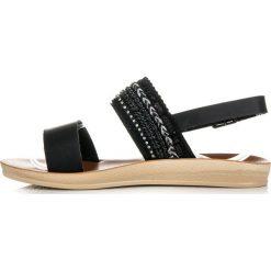 Rzymianki damskie: Czarne sandałki z koralikami INDIA