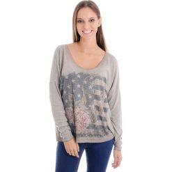 Bluzka - 104-6339 FANG. Brązowe bluzki asymetryczne Unisono, l, z nadrukiem, z bawełny, z długim rękawem. Za 69,00 zł.