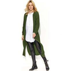 Płaszcze damskie: Khaki Długi Sweter-Płaszcz z Rozciętymi Bokami