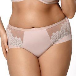 Figi klasyczne Parisienne wysokie. Różowe figi Astratex, w koronkowe wzory, z bawełny. Za 66,99 zł.