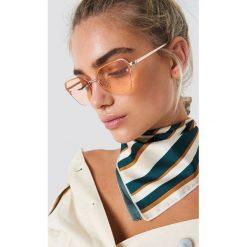 Okulary przeciwsłoneczne damskie aviatory: NA-KD Accessories Okulary przeciwsłoneczne kocie oczy - Orange,Gold