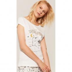 Piżamowa koszulka z liskiem - Kremowy. Czarne koszule nocne i halki marki Reserved, l. Za 25,99 zł.