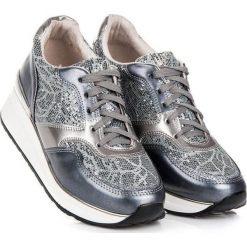 Buty sportowe damskie: KYLIE Buty damskie z brokatem srebrno-stalowe r. 40