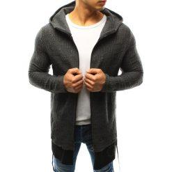 Sweter męski rozpinany z kapturem antracytowy (wx0918). Szare kardigany męskie marki Dstreet, m, z nadrukiem, z bawełny, z kapturem. Za 99,99 zł.