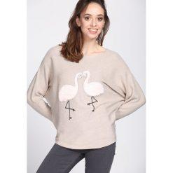 Beżowy Sweter Withstand. Brązowe swetry klasyczne damskie Born2be, l, z dekoltem w łódkę. Za 49,99 zł.