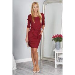 06cd77bc84 Bordowa Sukienka Wiązana w Talii 9729. Czerwone sukienki damskie Fasardi
