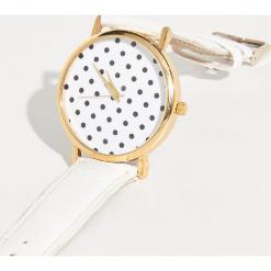 Zegarek z tarczą w groszki - Biały. Białe zegarki damskie Sinsay. Za 24,99 zł.