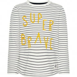 """Koszulka """"Sasse"""" w kolorze biało-granatowym. Białe t-shirty chłopięce z długim rękawem marki Name it Mini & Kids, z nadrukiem, z bawełny. W wyprzedaży za 32,95 zł."""