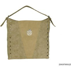 Torebki klasyczne damskie: MANZANA worek torebka ćwieki- beżowa