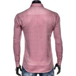 KOSZULA MĘSKA Z DŁUGIM RĘKAWEM K404 - CZERWONA. Brązowe koszule męskie na spinki marki Ombre Clothing, m, z aplikacjami, z kontrastowym kołnierzykiem, z długim rękawem. Za 49,00 zł.