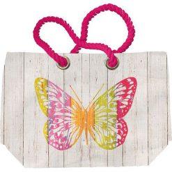 """Shopper bag damskie: Torba plażowa """"Butterfly"""" w kolorze kremowym ze wzorem - 55 x 38 x 16 cm"""