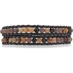Bransoletki damskie: Skórzana bransoletka w kolorze czarno-brązowym