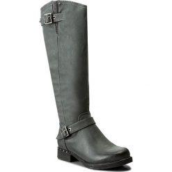 Oficerki JENNY FAIRY - WS17017  Szary. Szare buty zimowe damskie Jenny Fairy, ze skóry ekologicznej, przed kolano, na wysokim obcasie, na obcasie. Za 149,99 zł.