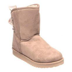 Skórzane botki w kolorze beżowym. Brązowe buty zimowe damskie Carla Samuel, na zimę. W wyprzedaży za 129,95 zł.