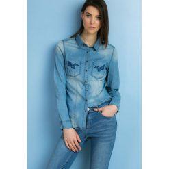Koszule body: Jeansowa koszula z haftem