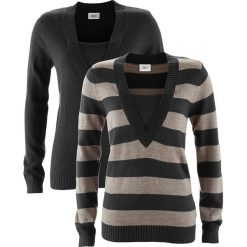 Sweter (2 szt. w opak.) bonprix czarny w paski + czarny. Niebieskie swetry klasyczne damskie marki bonprix, z nadrukiem. Za 89,98 zł.