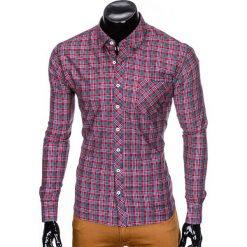 KOSZULA MĘSKA W KRATĘ Z DŁUGIM RĘKAWEM K421 - CZERWONA. Czerwone koszule męskie na spinki marki Ombre Clothing, m, z długim rękawem. Za 69,00 zł.