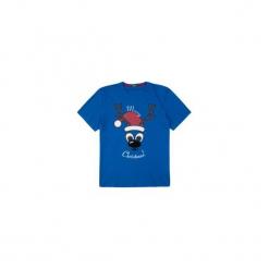 T-shirt krótki rękaw męski z printem. Niebieskie t-shirty męskie TXM, m, z bawełny, z klasycznym kołnierzykiem. Za 14,99 zł.