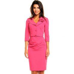 Różowy Elegancki Komplet Sukienka+ Krótki Żakiet. Czerwone marynarki i żakiety damskie Molly.pl, xxl, z materiału, biznesowe. Za 299,90 zł.