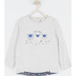 Koszulka. Szare bluzki dziewczęce bawełniane MUMMY SHEEP, z aplikacjami, z falbankami, z długim rękawem. Za 42,90 zł.