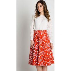 Spódniczki: Bawełniana rozkloszowana spódnica na pasku BIALCON