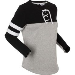 Bluza z wiązanym troczkiem, długi rękaw bonprix jasnoszary melanż - czarny. Szare bluzy rozpinane damskie bonprix, melanż, z długim rękawem, długie. Za 89,99 zł.