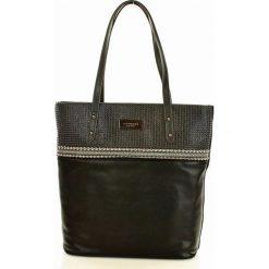 MONNARI Zdobiona torebka shopper bag czarny. Czarne shopper bag damskie marki Monnari, ze skóry, na ramię, zdobione. Za 169,00 zł.