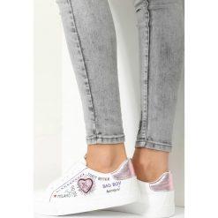 Buty do koszykówki damskie: Biało-Różowe Buty Sportowe Never Walk Alone