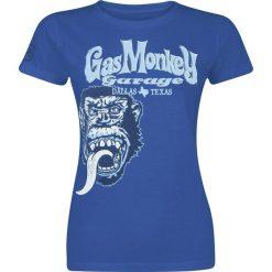 Bluzki asymetryczne: Gas Monkey Garage Tonal Monkey Classic Koszulka damska niebieski