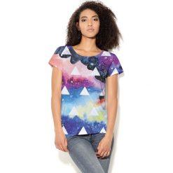 Colour Pleasure Koszulka damska CP-034  67  niebiesko-różowo-fioletowa r. XL-XXL. Bluzki asymetryczne Colour pleasure, xl. Za 70,35 zł.