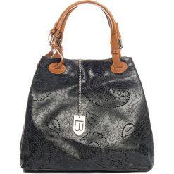 Torebki klasyczne damskie: Skórzana torebka w kolorze czarnym – 37 x 45 x 15 cm