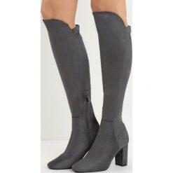 Ciemnoszare Kozaki No Sense. Czarne buty zimowe damskie marki Kazar, ze skóry, przed kolano, na wysokim obcasie. Za 79,99 zł.