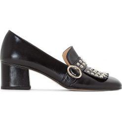 Buty ślubne damskie: Skórzane czółenka na szerokim obcasie, Victoire