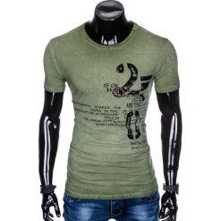 T-shirty męskie: T-SHIRT MĘSKI Z NADRUKIEM S893 - OLIWKOWY