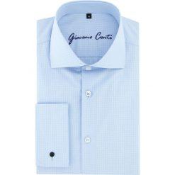 Koszula RICCARDO 15-11-30-K. Niebieskie koszule męskie na spinki marki bonprix, m, z nadrukiem, z klasycznym kołnierzykiem, z długim rękawem. Za 229,00 zł.