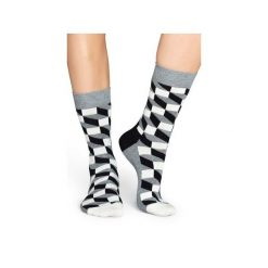 Skarpetki Happy Socks - Filled Optic (FO01-901). Szare skarpetki męskie Happy Socks, w kolorowe wzory, z bawełny. Za 34,90 zł.