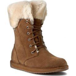 Śniegowce EMU AUSTRALIA - Shoreline W11249 Oak. Brązowe buty zimowe damskie EMU Australia, ze skóry, przed kolano, na wysokim obcasie. Za 859,00 zł.