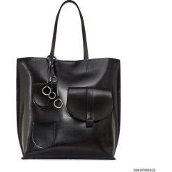 Duża torba ze skóry naturalnej Sugar Shopper. Czarne shopper bag damskie Pakamera, ze skóry, na ramię, duże. Za 680,00 zł.