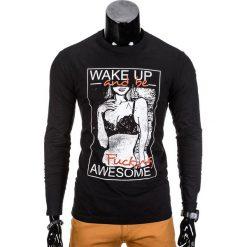 T-shirty męskie: LONGSLEEVE MĘSKI Z NADRUKIEM L98 – CZARNY