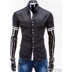 KOSZULA MĘSKA Z KRÓTKIM RĘKAWEM K260 - CZARNA. Brązowe koszule męskie na spinki marki Ombre Clothing, m, z aplikacjami, z kontrastowym kołnierzykiem, z długim rękawem. Za 49,00 zł.