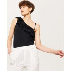 Bluzki, topy, tuniki: Top z asymetrycznym dekoltem – Czarny