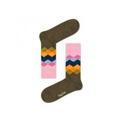 Skarpetki Happy Socks - Faded Diamond (FAD01-7001). Szare skarpetki męskie Happy Socks, w kolorowe wzory, z bawełny. Za 34,90 zł.