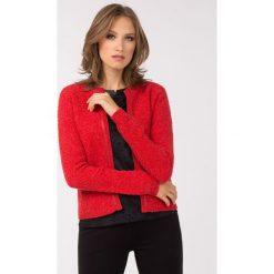 Swetry rozpinane damskie: Elegancki sweter z lamówką