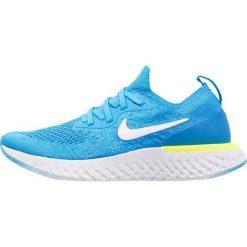 Nike Performance EPIC REACT FLYKNIT Obuwie do biegania treningowe blue glow/white/photo blue/volt. Niebieskie buty do biegania damskie Nike Performance, z materiału. W wyprzedaży za 439,20 zł.
