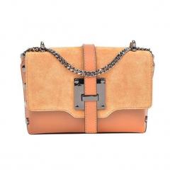 Skórzana torebka w kolorze pomarańczowym - (S)23 x (W)14 x (G)7 cm. Brązowe torebki klasyczne damskie Akcesoria na sylwestrową noc, z materiału. W wyprzedaży za 199,95 zł.