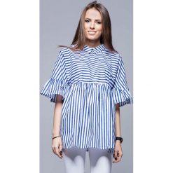 Bluzki damskie: Granatowa Luźna Wzorzysta Bluzka z Koszulowym Kołnierzykiem