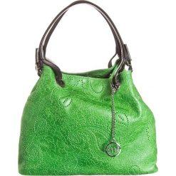 Torebki klasyczne damskie: Skórzana torebka w kolorze zielono-czarnym – 39 x 29 x 17 cm