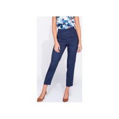 Eleganckie spodnie damskie do kostki. Niebieskie spodnie z wysokim stanem Bien fashion, z materiału. Za 119,00 zł.