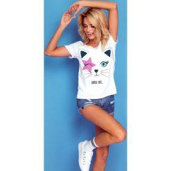 Bluzka super cat k130. Niebieskie bluzki z odkrytymi ramionami marki SaF, na co dzień, xl, z żakardem, z asymetrycznym kołnierzem, dopasowane. W wyprzedaży za 44,00 zł.